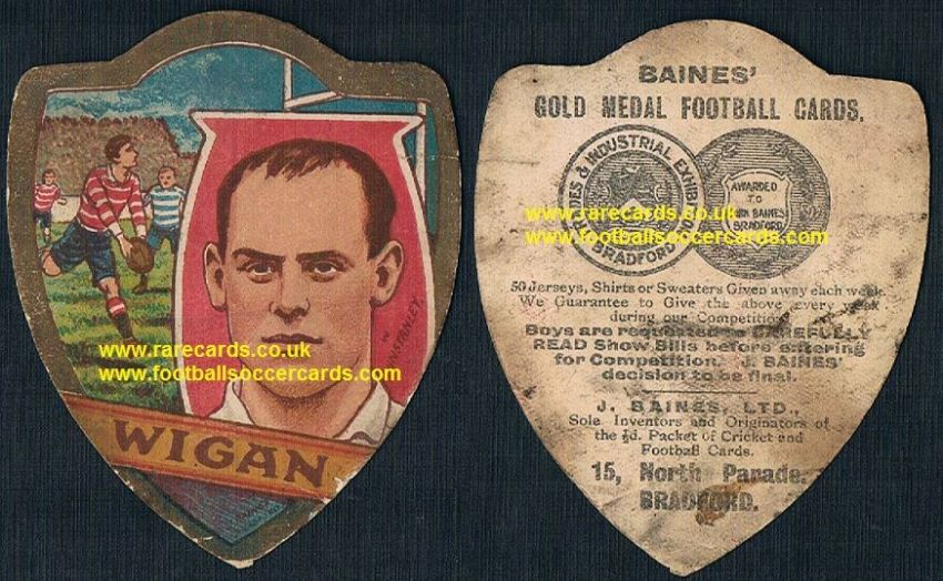 1912 Billy Winstanley Wigan Warriors British Lions England rugby international Baines card